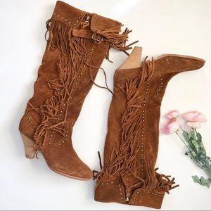 RARE Jeffrey Campbell cognac suede fringe boots